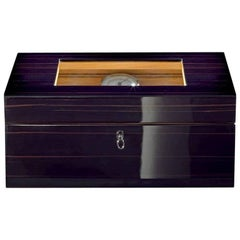 Black Polished Humidor with Tray and Cedar Lining by Agresti