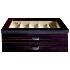 Black Polished Watch Box for 9 Watches with Suede and Leather Detail by Agresti