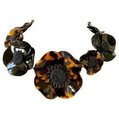 "Black Poppy Faux Tortoise Statement ""Collier"" Necklace"