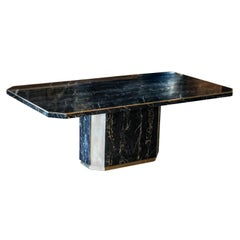 Black Portoro Marble Dining Table with Brass Trim, 8-Seat, France, 1970s