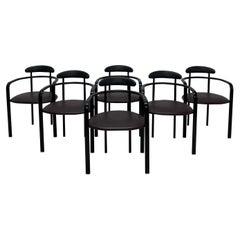Black Postmodern Dining Chairs by Hank Loewenstein, 1980s