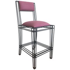 Black Power Coated Wrought Iron Bar or Counter Stools by Casamidy