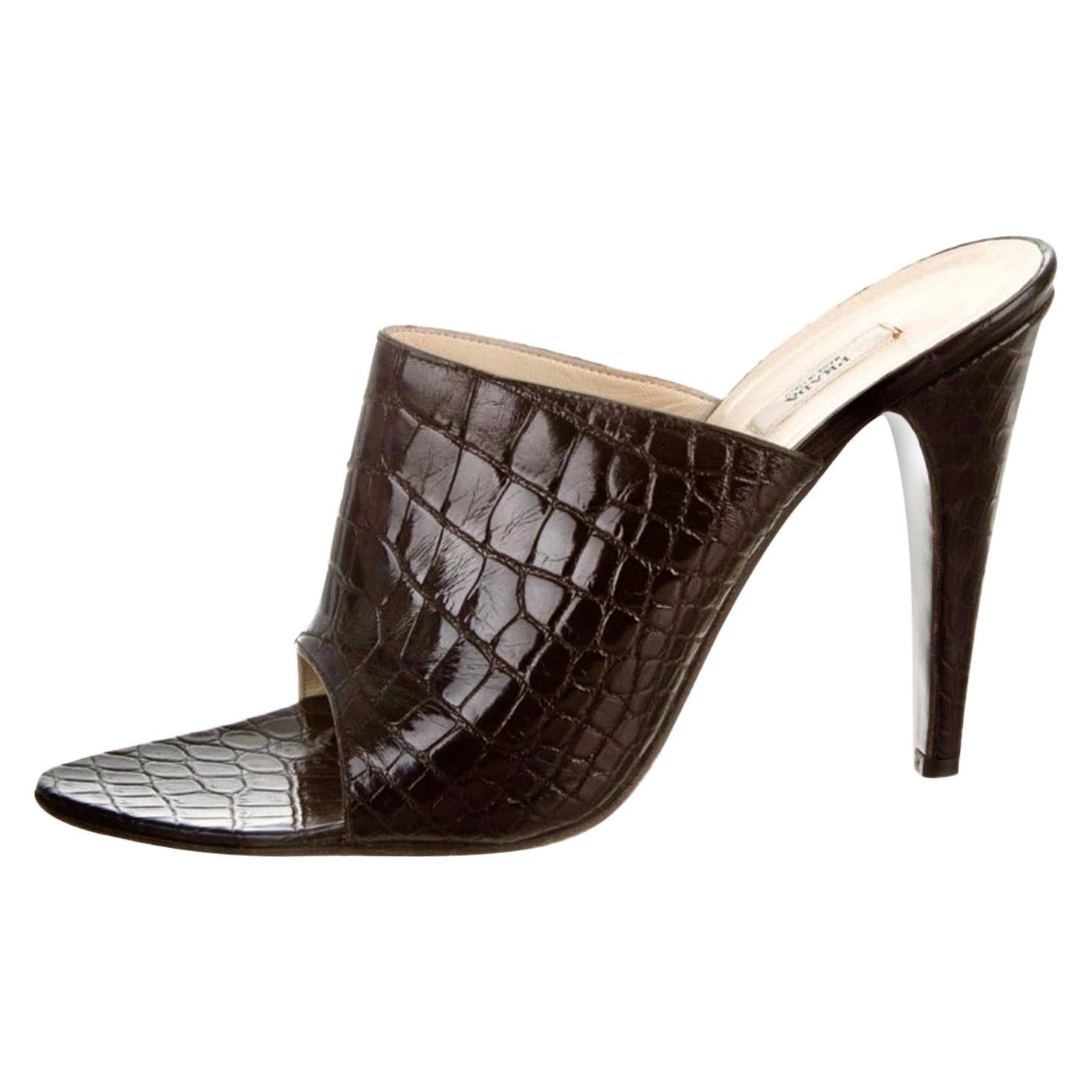 Black Prada Exotic Crocodile High Heel Sandals Mules