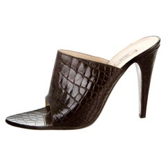 Black Prada Exotic Crocodile High Heel Sandals Mules