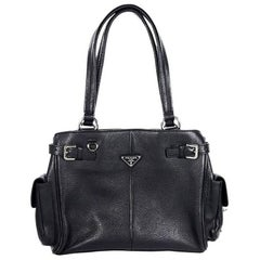 Black Prada Leather Shoulder Bag