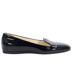 Prada Black Patent Leather Low Wedges