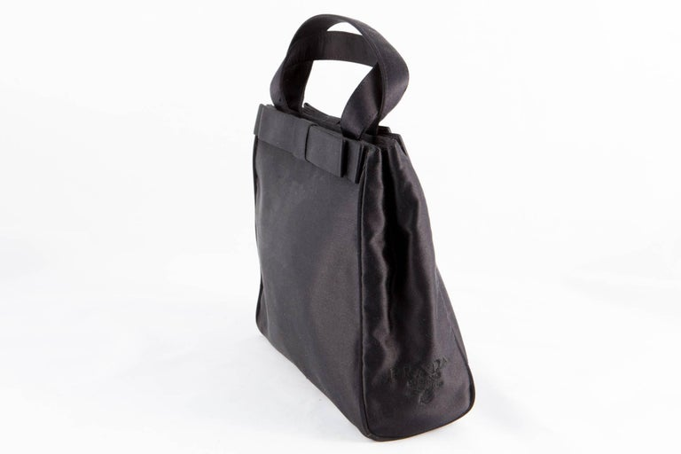 Prada Black Satin Evening Tote Bag In Excellent Condition For Sale In Paris, FR