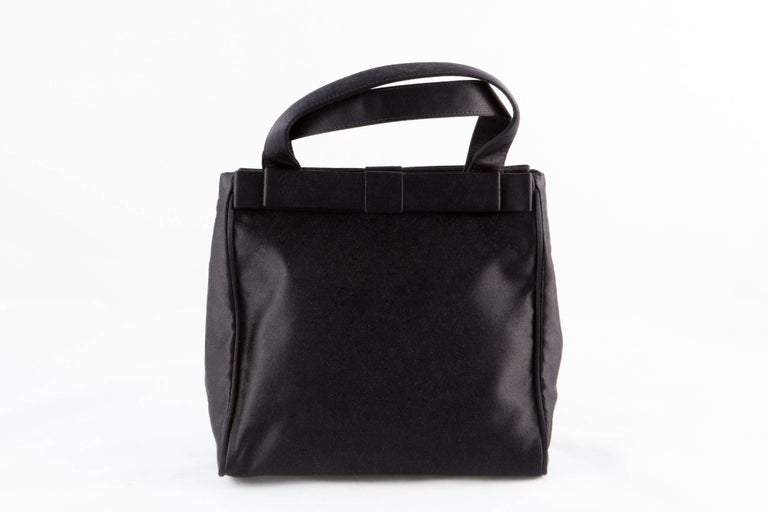 Prada Black Satin Evening Tote Bag For Sale 2