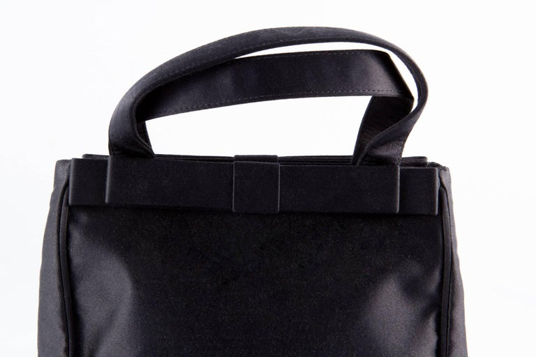 Prada Black Satin Evening Tote Bag For Sale 3