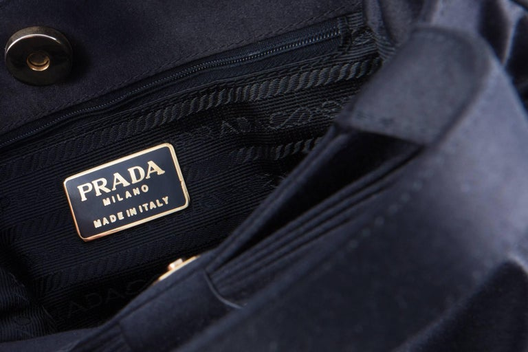 Prada Black Satin Evening Tote Bag For Sale 4