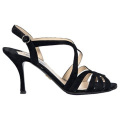 18818ec9a2 Black Prada Strappy Suede Sandals