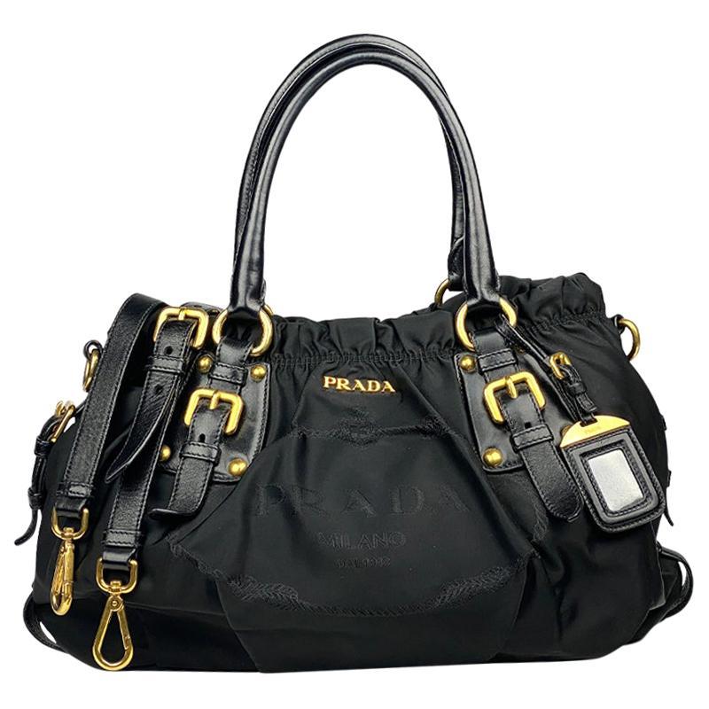 Black Prada Tessuto Satchel Bag