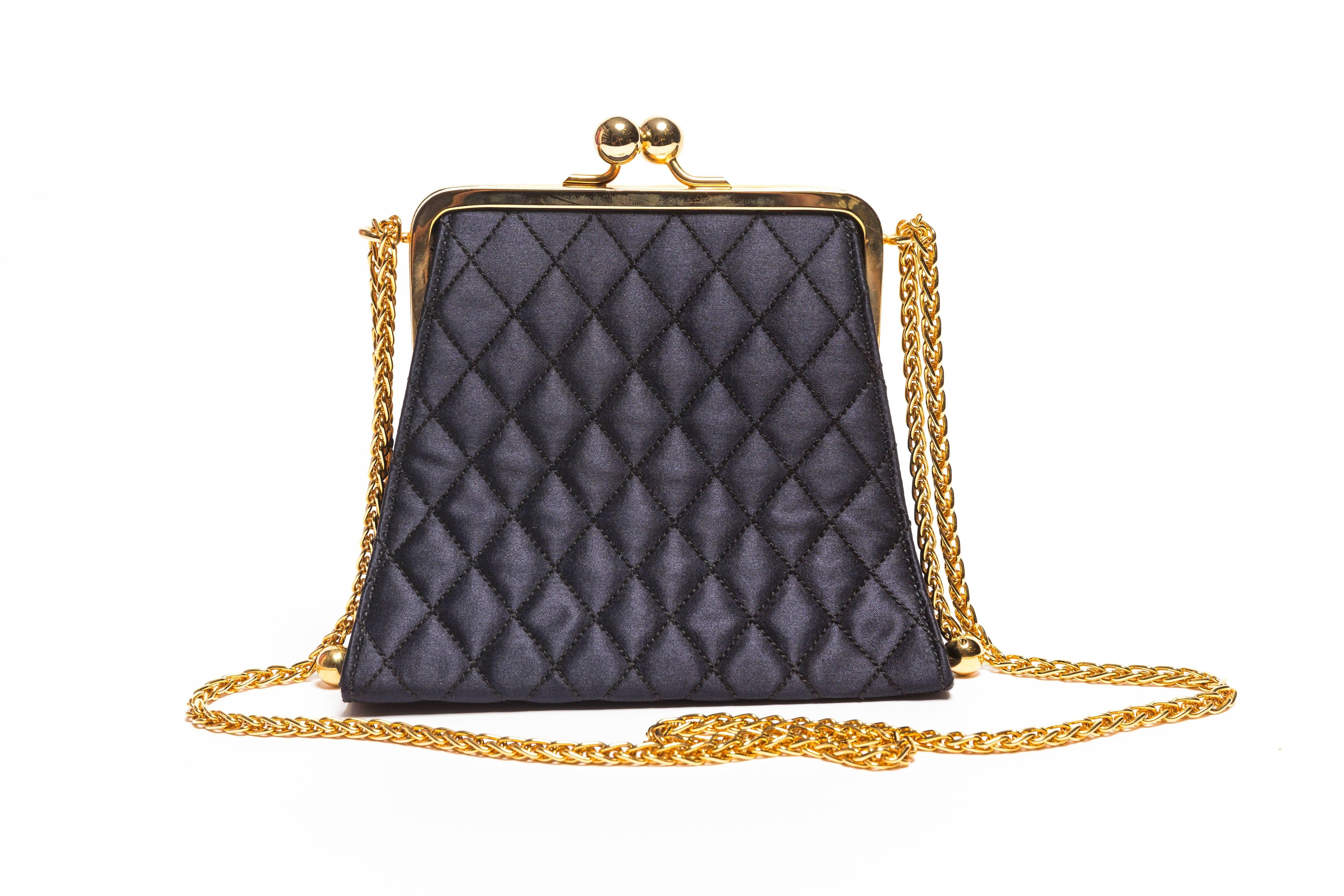 1stdibs Black Quilted Silk Escada Bag With Gold Chain