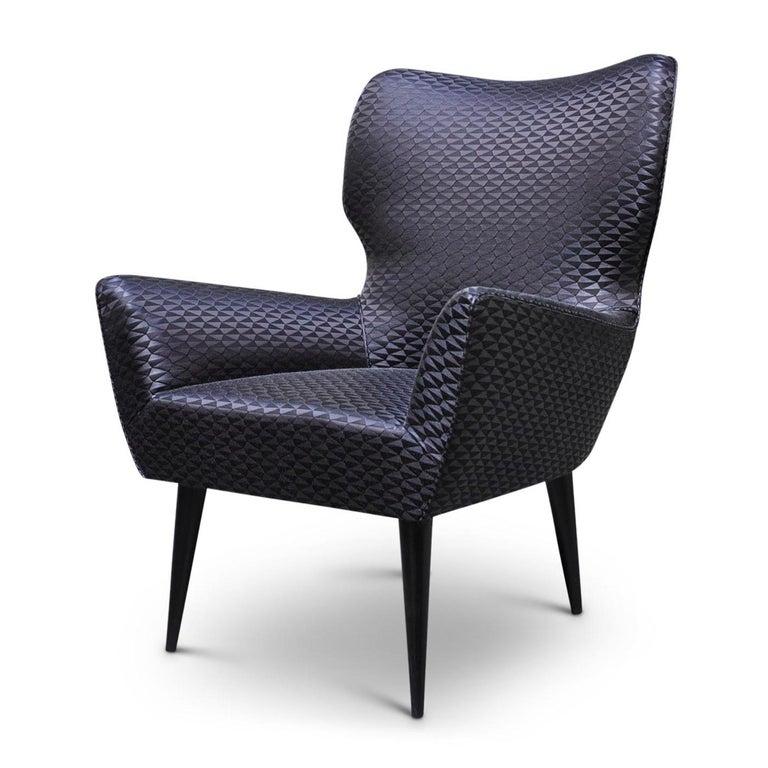 Italian Black Raffia Chair For Sale