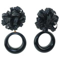 Black Raffia Hoop Clip On Earrings, 1980's
