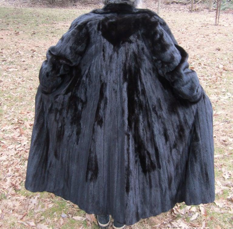 Women's or Men's Black Ranch Mink Full Swing Coat 12-14  Retail 8,000+ Authentic Black Diamond For Sale