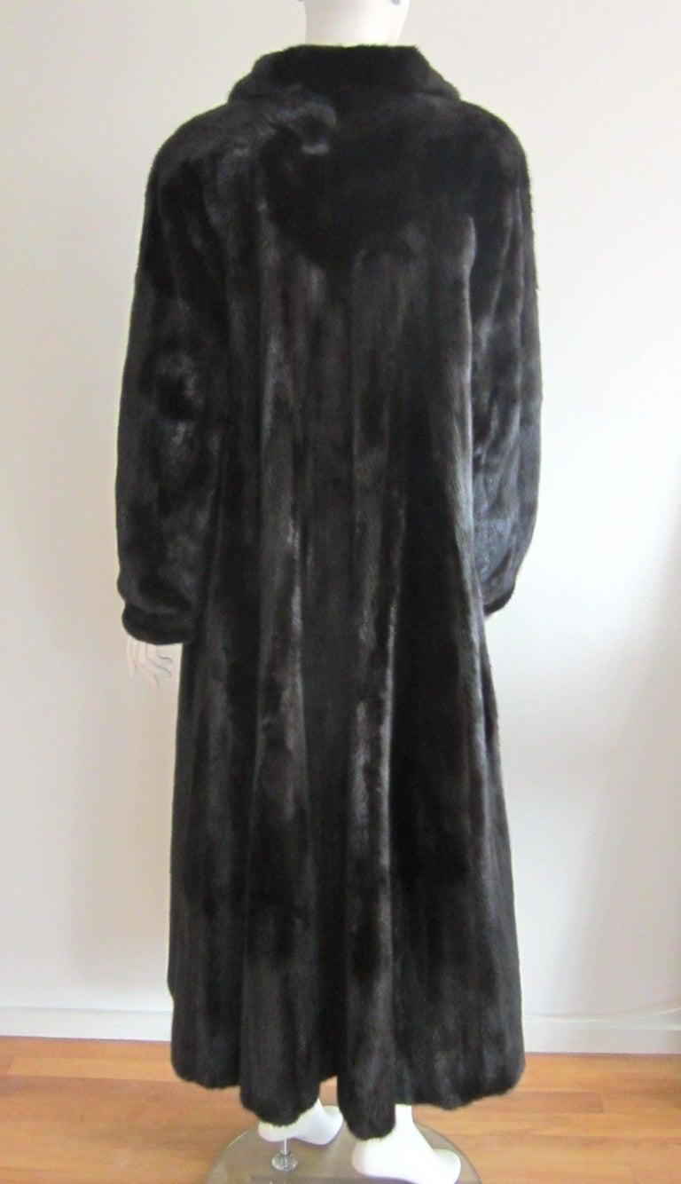 Black Ranch Mink Full Swing Coat 12-14  Retail 8,000+ Authentic Black Diamond For Sale 3