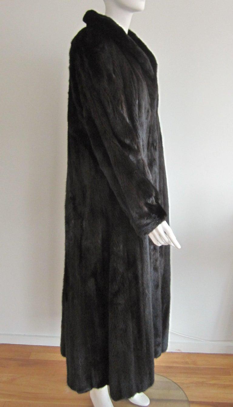 Black Ranch Mink Full Swing Coat 12-14  Retail 8,000+ Authentic Black Diamond For Sale 4