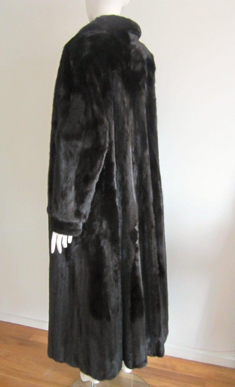 Black Ranch Mink Full Swing Coat 12-14  Retail 8,000+ Authentic Black Diamond For Sale 5