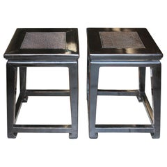 Black Rattan Top Side Table
