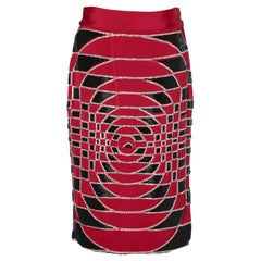 Black, red and silver  beaded skirt Gianni Versace Sera