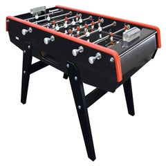 Black and Red Beechwood Foosball Table with Aluminium Handles, Made in France