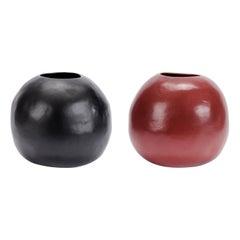 Black/Red Ceramic Handmade Vases/Vessels