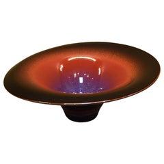 Black Red Hand-Glazed Porcelain Vase by Japanese Master Artist
