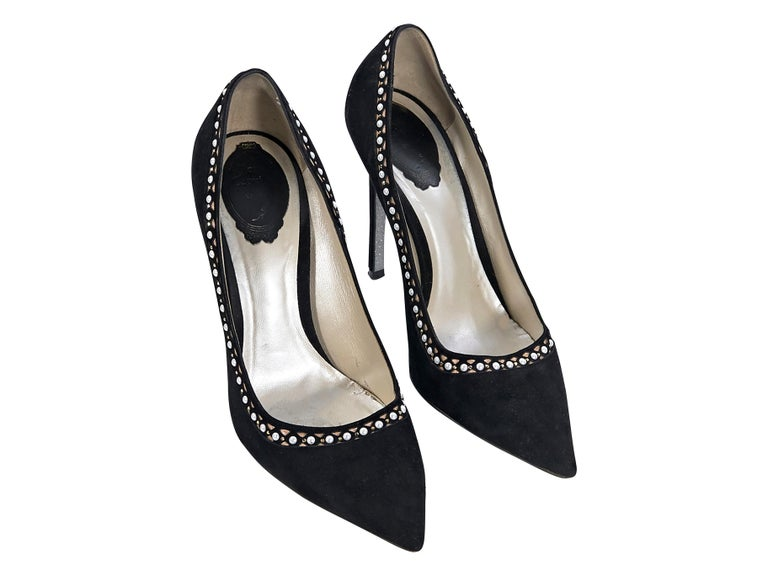 Product details:  Black suede pumps by Rene Caovilla.  Embellished trim.  Point toe.  Slip-on style.  4