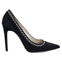 Black Rene Caovilla Embellished Suede Pumps