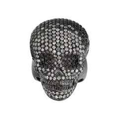 Black Rhodium Diamond Pave Skull Men's Ring