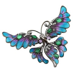 Black Rhodium-Plated 925 Sterling Silver with Enamels Butterfly Shaped Brooch