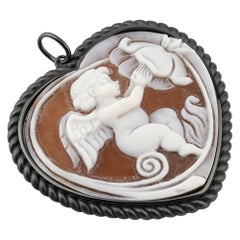 Black Rhodium Plated 925 Sterling Silver with Sea Shell Cameo Pendant
