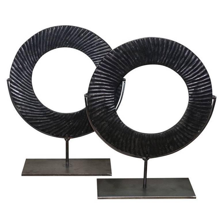 Black Ribbed Pair of Stone Rings, China, Contemporary