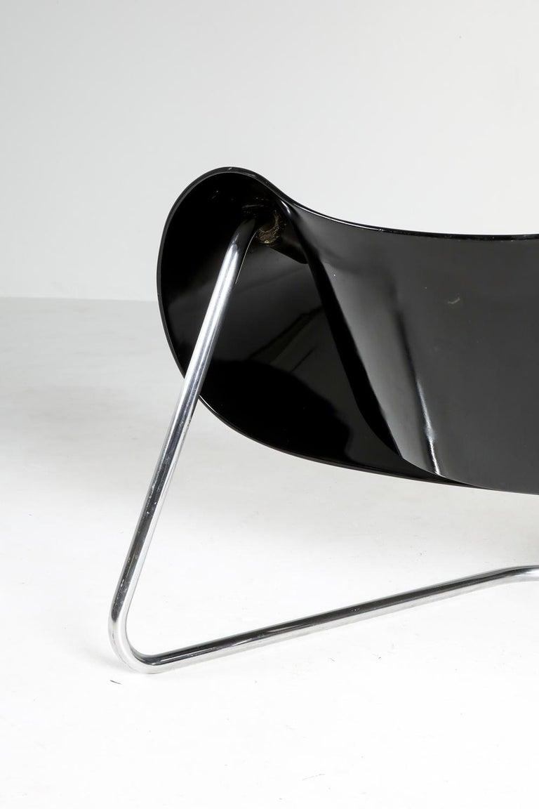 Black Ribbon Chair by Franca Stagi for Bernini, 1961 For Sale 8