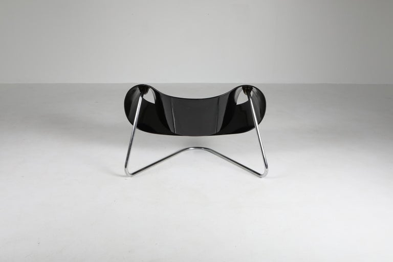 Mid-20th Century Black Ribbon Chair by Franca Stagi for Bernini, 1961 For Sale