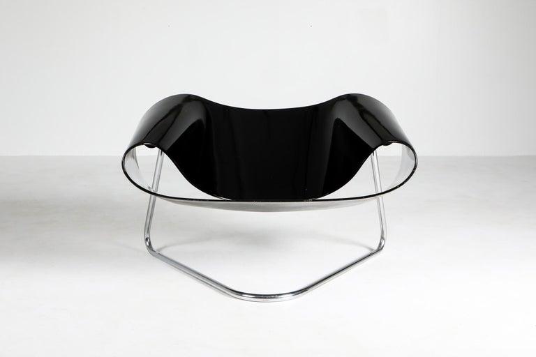 Chrome Black Ribbon Chair by Franca Stagi for Bernini, 1961 For Sale