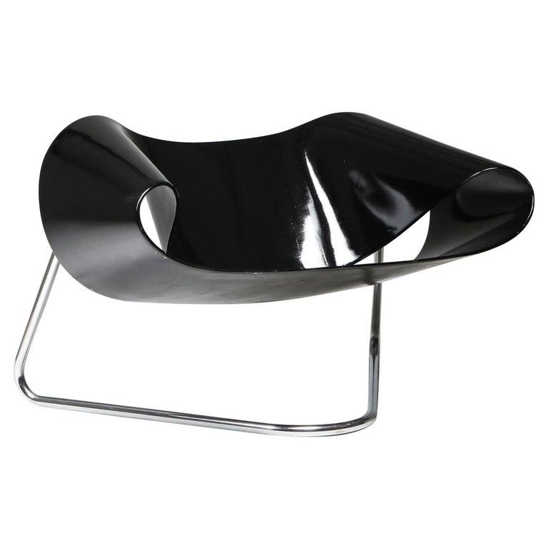 Black Ribbon Chair by Franca Stagi for Bernini, 1961 For Sale