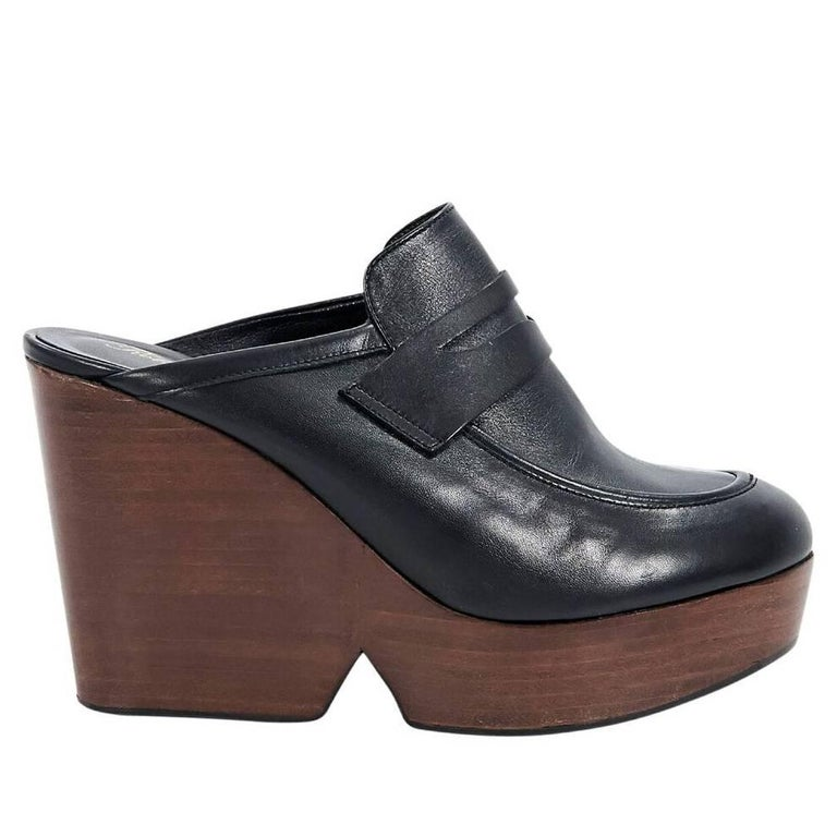 e57d5cae336 Robert Clergerie Black Leather Loafer Mules For Sale. Product details  Black  leather wedge ...