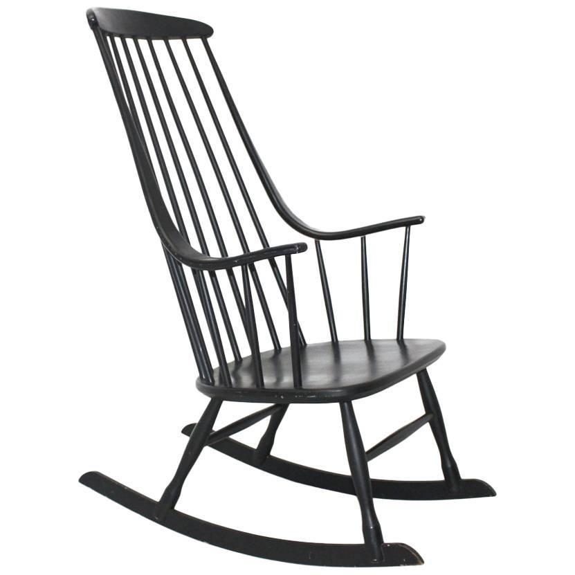 Black Vintage Rocking Chair Grandessa by Lena Larsson 1961 Sweden for Nesto