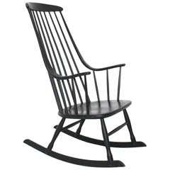 Black Vintage Rocking Chair Grandessa by Lena Larsson 1961 Sweden for Nesto