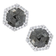 3.53ct Black Rose Cut Diamond and White Diamond Gold Earrings