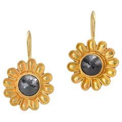 Black Rose Cut Diamond Daisy Earrings