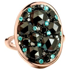Black Rose-Cut Diamond Paraïba Tourmaline Pave Ring