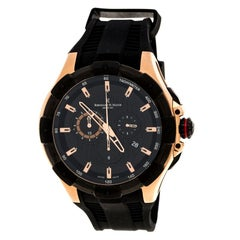 Black Rose Gold Plated Steel Victor Chronograph Men's Wristwatch 50 mm