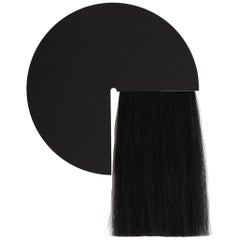 Black Round Mirror with Black Mongolian Horsehair, Aries by Ben and Aja Blanc