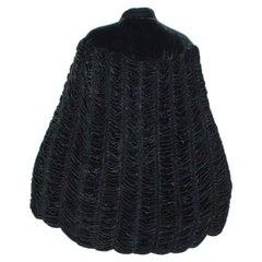 Black Ruched Silk Velvet Pelerine Mantle Cape with Scalloped Edge - S-M, 1930s