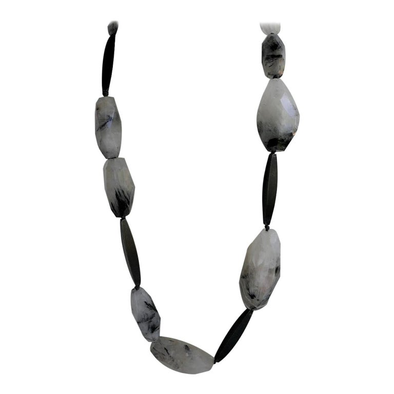 Black Rutilated Quartz Nuggets Graphite 925 Silver Clasp Gemstone Necklace For Sale