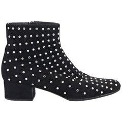 Black Saint Laurent Studded Suede Ankle Boots