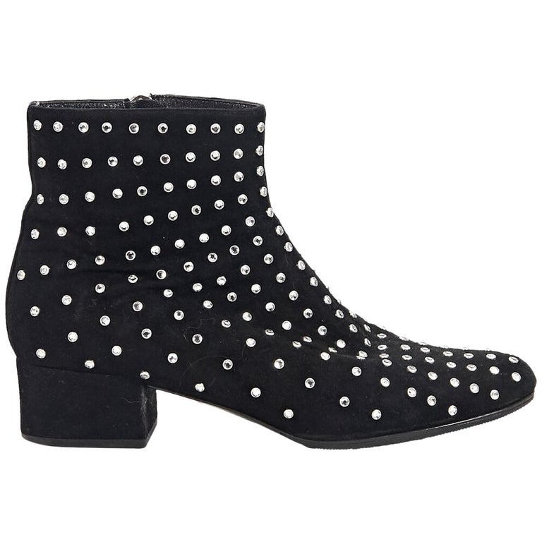 Black Saint Laurent Studded Suede Ankle Boots For Sale